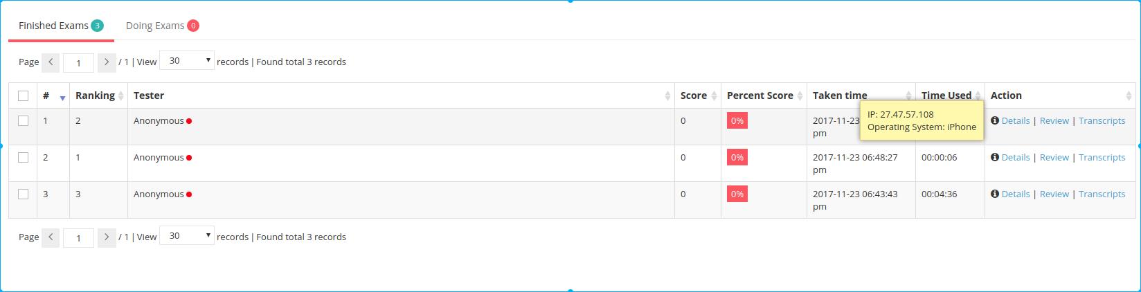 View LAN Exam Maker taken list